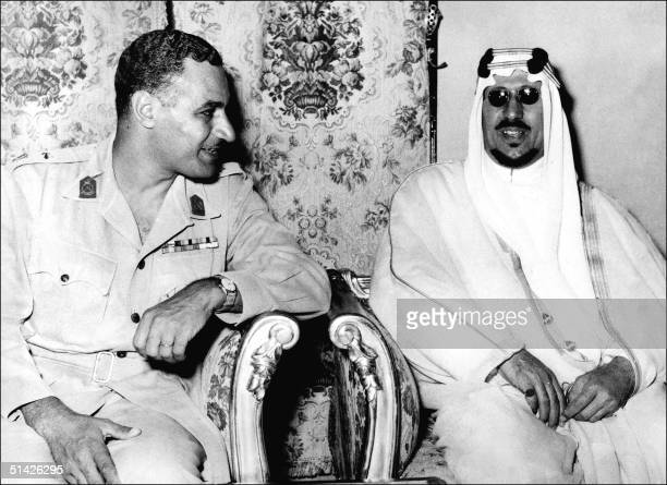 Saudi Arabian King Saud ibn Abd alAziz and Egyptian president Gamal Abdel Nasser confer in March 1956 at Kubbeh Palace in Cairo during SyriaSaudi...