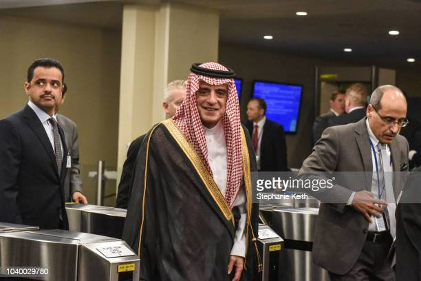 Saudi Arabian Minister of Foreign Affairs Adel bin Ahmed Al-Jubeir arrives at the United Nations during the United Nations General Assembly on...