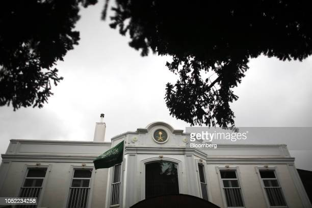 A Saudi Arabian national flag outside the Saudi Arabian consulate in Istanbul Turkey on Monday Oct 15 2018 Saudi Arabia has begun an internal...