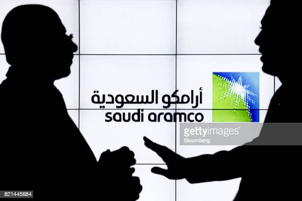 A Saudi Arabian Oil Co logo sits on an electronic display at the company's corporate pavilion during the 22nd World Petroleum Congress in Istanbul...