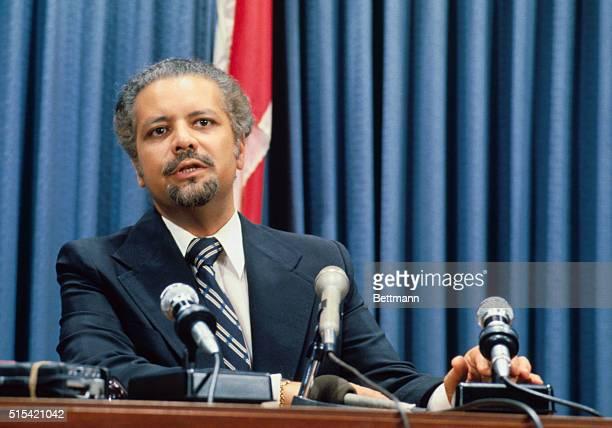 Saudi Arabian Oil Minister Sheik Ahmed Zaki Yamani speaking during press conference