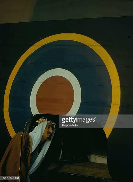 1943 Saudi Arabian Prince Emir Faisal bin Abdulaziz son of King Saud inspects a Halifax bomber whilst visiting the Handley Page Aircraft Works Great...