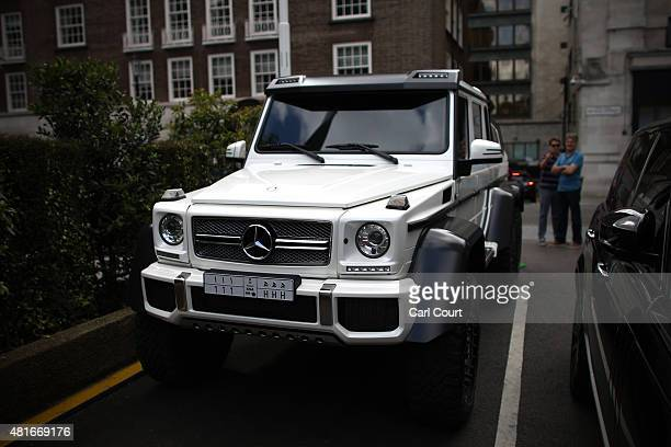 Saudi Arabian registered Mercedes G63 AMG 6x6 is pictured on July 21 2015 in Knightsbridge in London England Knightsbridge has become known in recent...