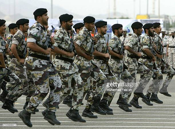 Saudi Arabian security forces soldiers march during a parade on January 4 2006 in the city of Mecca Saudi Arabia Saudi Arabian authorities said that...