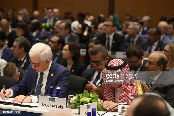 Saudi Arabia's Ambassador to the United States Adel al-Jubeir listens to U.S. Secretary of State Mike Pompeo makes opening remarks during a plenary...