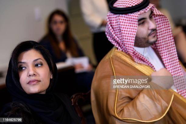 Saudi Arabia's Ambassador to the US Princess Reema bint Bandar Al Saud and Vice Minister of Defense Prince Khalid bin Salman listen before a meeting...