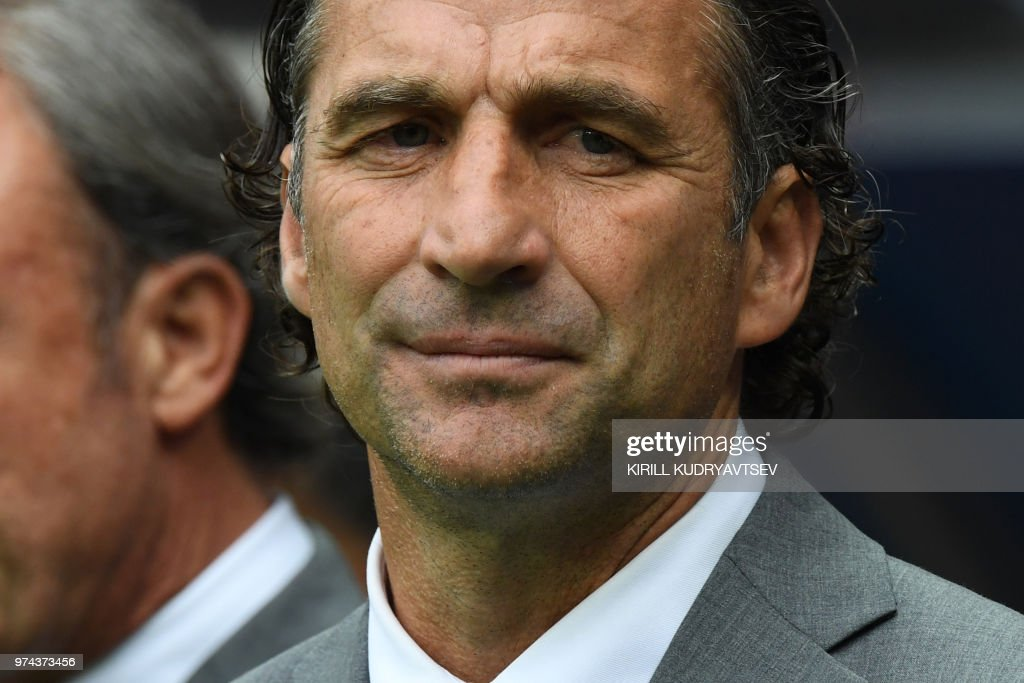 Saudi Arabia's coach Juan Antonio Pizzi looks on before the Russia 2018 World Cup Group A football match between Russia and Saudi Arabia at the Luzhniki Stadium in Moscow on June 14, 2018. (Photo by Kirill KUDRYAVTSEV / AFP) / RESTRICTED