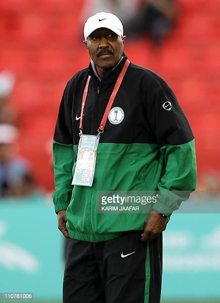 Saudi Arabia's coach Nasser alJohar attends the 2011 Asian Cup group B football match between Jordan and Saudi Arabia at AlRayyan Stadium in the...