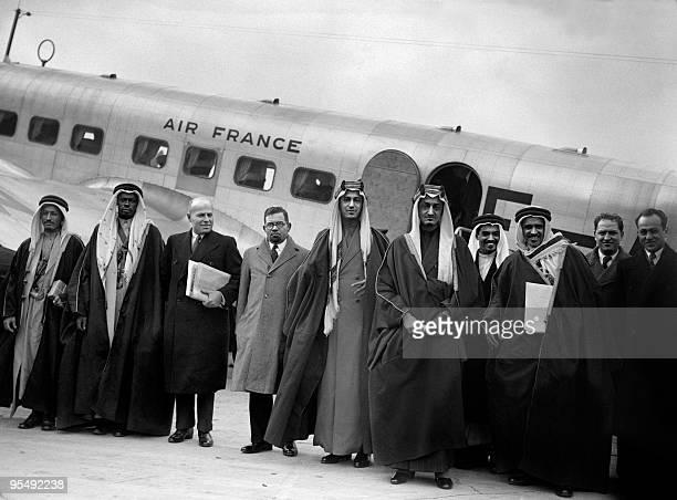 Saudi Arabia's Crown Prince Faisal ibn Abdul Aziz Al Saud , the future King of Saudi Arabia, poses 25 March 1939 at Paris' Le Bourget airport in...