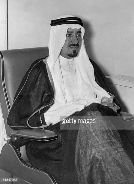 Saudi Arabia's Crown Prince Khaled ibn Abdul Aziz al-Saud, brother of King Faisal bin Abdul Aziz al Saud, is pictured in April 1965 during his visit...