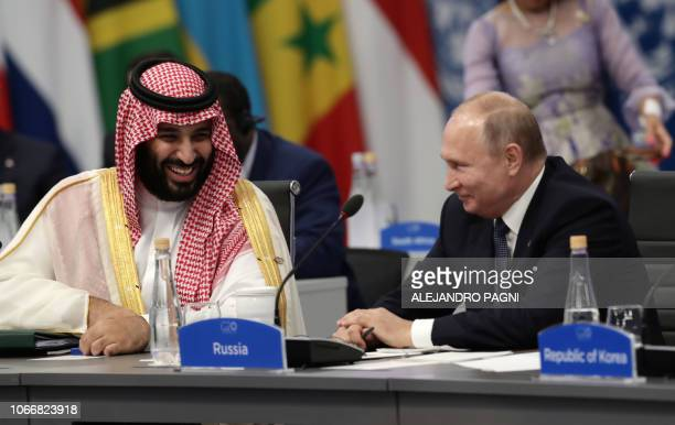 Saudi Arabia's Crown Prince Mohammed bin Salman and Russia's President Vladimir Putin attend the G20 Leaders' Summit in Buenos Aires on November 30...