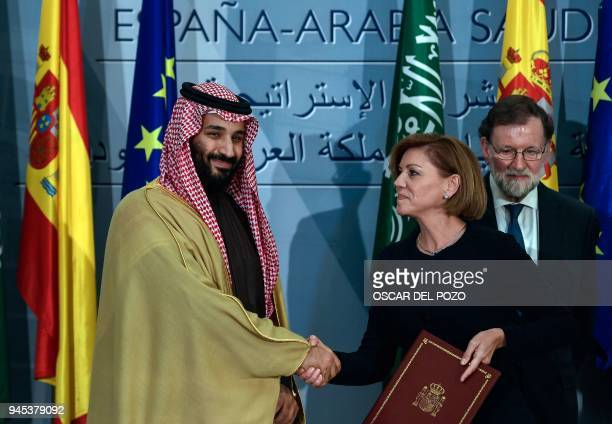 Saudi Arabia's crown prince Mohammed bin Salman and Spanish Minister of Defence Maria Doroles de Cospedal sign agreements as Spanish Pime Minister...