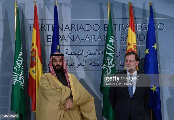Saudi Arabia's crown prince Mohammed bin Salman and Spanish prime minister Mariano Rajoy pose at La Moncloa palace in Madrid on April 12 2018 Prince...
