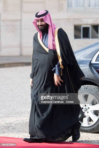 Saudi Arabia's Crown Prince Mohammed bin Salman arrives at Elysee Palace on April 10 2018 in Paris France Crown Prince of the Kingdom of Saudi Arabia...