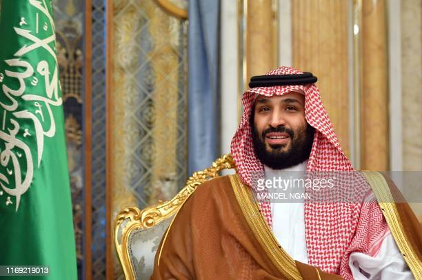Saudi Arabia's Crown Prince Mohammed bin Salman attends a meeting with the US secretary of state in Jeddah Saudi Arabia on September 18 2019 US...