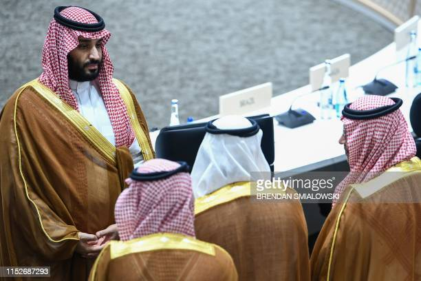 Saudi Arabia's Crown Prince Mohammed bin Salman attends session 3 on women's workforce participation future of work and ageing societies during the...