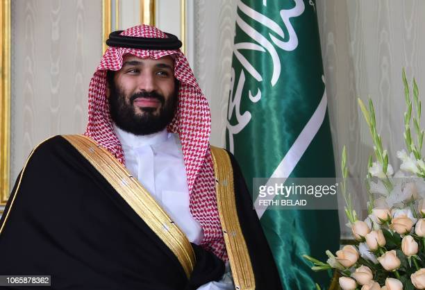 Saudi Arabia's Crown Prince Mohammed bin Salman is pictured while meeting with the Tunisian President at the presidential palace in Carthage on the...