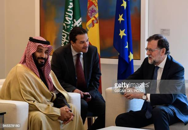Saudi Arabia's crown prince Mohammed bin Salman meets with Spanish prime minister Mariano Rajoy at La Moncloa palace in Madrid on April 12, 2018....