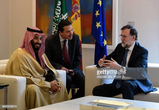 Saudi Arabia's crown prince Mohammed bin Salman meets with Spanish prime minister Mariano Rajoy at La Moncloa palace in Madrid on April 12 2018...
