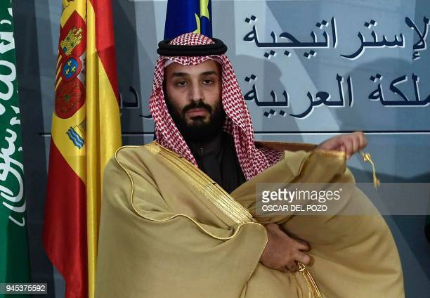 Saudi Arabia's crown prince Mohammed bin Salman poses at La Moncloa palace in Madrid on April 12 2018 Prince Mohammed arrived in Spain late on April...