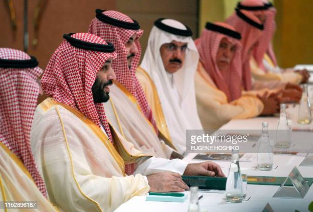 Saudi Arabia's Crown Prince Mohammed bin Salman speaks during a meeting with Japanese Prime Minister Shinzo Abe in Osaka on June 30 2019