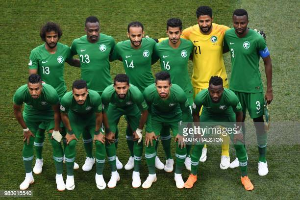 Saudi Arabia's defender Yasser AlShahrani defender Motaz Hawsawi midfielder Abdullah Otayf midfielder Hussain Al Moqahwi goalkeeper Yasser Al...