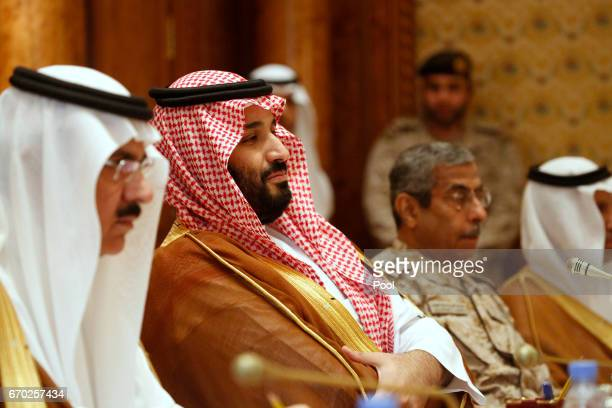 Saudi Arabia's Deputy Crown Prince and Defense Minister Mohammed bin Salman takes his seat to meet with US Defense Secretary James Mattis and his...