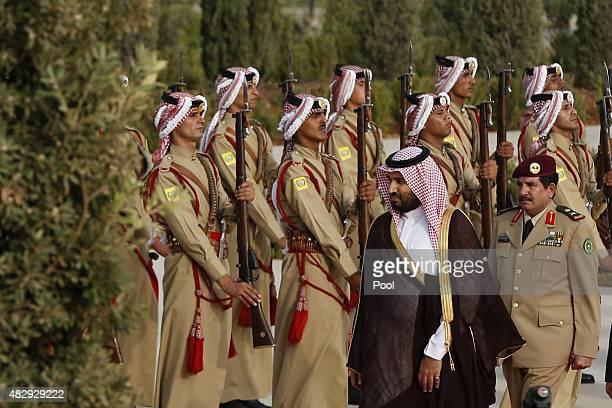 Saudi Arabia's Deputy Crown Prince Mohammed bin Salman reviews Bedouin honour guards upon his arrival to meets Jordan's King Abdullah at the Royal...