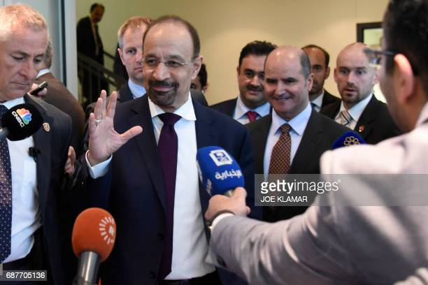 Saudi Arabias Energy Minister Khalid alFalih and Kuwait's minister of Electricity and Water leave OPEC headquarters in Vienna Austria on May 24 2017...