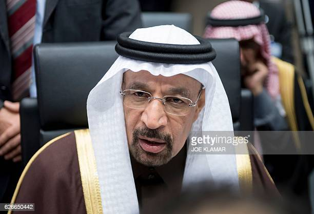 Saudi Arabias energy minister Khalid alFalih attends a meeting of the Organization of the Petroleum Exporting Countries OPEC at the OPEC headquarters...