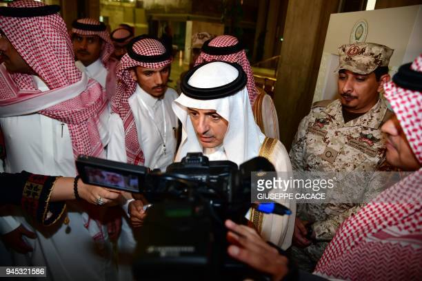 Saudi Arabia's Foreign Minister Adel alJubeir speaks to journalists following the preparatory meeting of Arab Foreign Ministers ahead of the 28th...