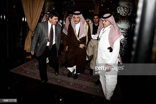 Saudi Arabia's Foreign Minister Prince Saud alFaisal leaves the hall during a meeting of Foreign ministers of the six Gulf Cooperation Council states...