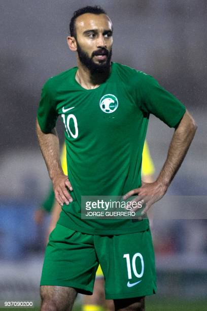 Saudi Arabia's forward Mohammad alSahlawi reacts during an international friendly football match between Saudi Arabia and Ukraine at the Municipal...