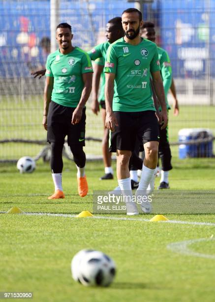 Saudi Arabia's forward Mohammed AlSahlawi arrives for a training session in Saint Petersburg on June 11 ahead of the Russia 2018 World Cup football...