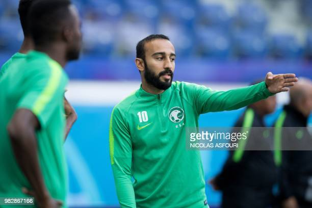 Saudi Arabia's forward Mohammed AlSahlawi attends a training session at the Volgograd Arena in Volgograd on June 24 on the eve of the Russia 2018...
