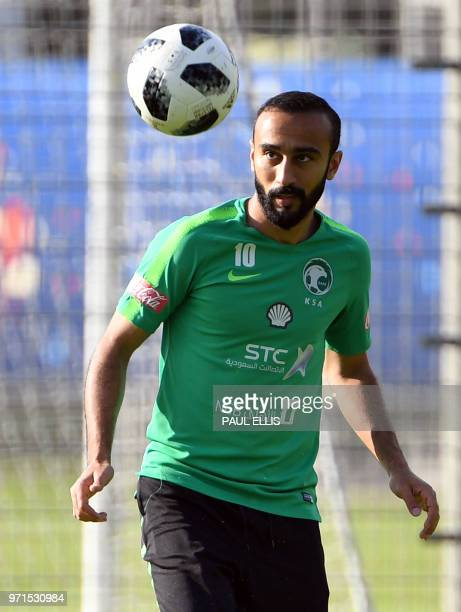 Saudi Arabia's forward Mohammed AlSahlawi takes part in a training session in Saint Petersburg on June 11 ahead of the Russia 2018 World Cup football...