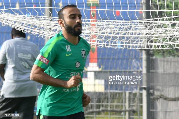 Saudi Arabia's forward Mohammed AlSahlawi takes part in a training session in Saint Petersburg on June 16 during the Russia 2018 World Cup football...