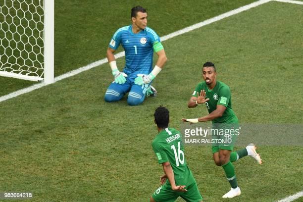 Saudi Arabia's forward Salem AlDawsari celebrates after scoring the winning goal during the Russia 2018 World Cup Group A football match between...