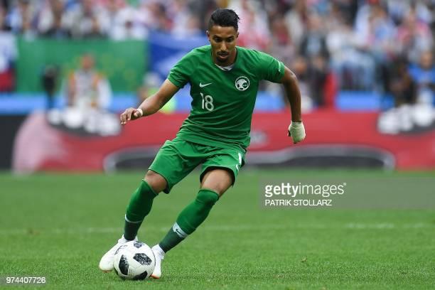 Saudi Arabia's forward Salem AlDawsari controls the ball during the Russia 2018 World Cup Group A football match between Russia and Saudi Arabia at...