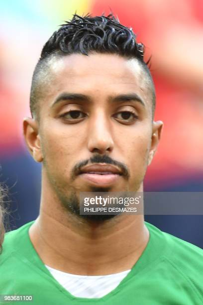 Saudi Arabia's forward Salem AlDawsari poses for a photo before the Russia 2018 World Cup Group A football match between Saudi Arabia and Egypt at...