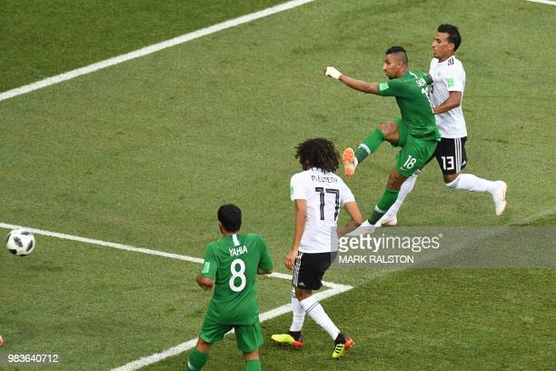 Saudi Arabia's forward Salem AlDawsari shoots to score his teams' winning goal during the Russia 2018 World Cup Group A football match between Saudi...