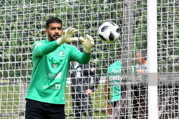 Saudi Arabia's goalkeeper Abdullah AlMayouf attends a training session in Saint Petersburg on June 12 ahead of the Russia 2018 World Cup football...