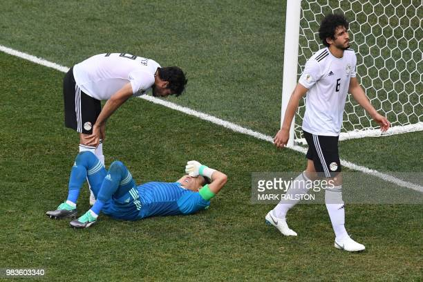Saudi Arabia's goalkeeper Abdullah AlMayouf reacts on the pitch during the Russia 2018 World Cup Group A football match between Saudi Arabia and...