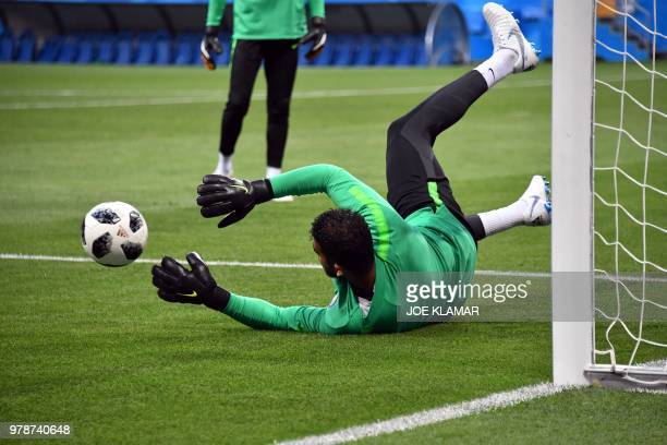 Saudi Arabia's goalkeepers Abdullah AlMayouf takes part in a training session at the Rostov Arena in RostovOnDon on June 19 on the eve of the Russia...