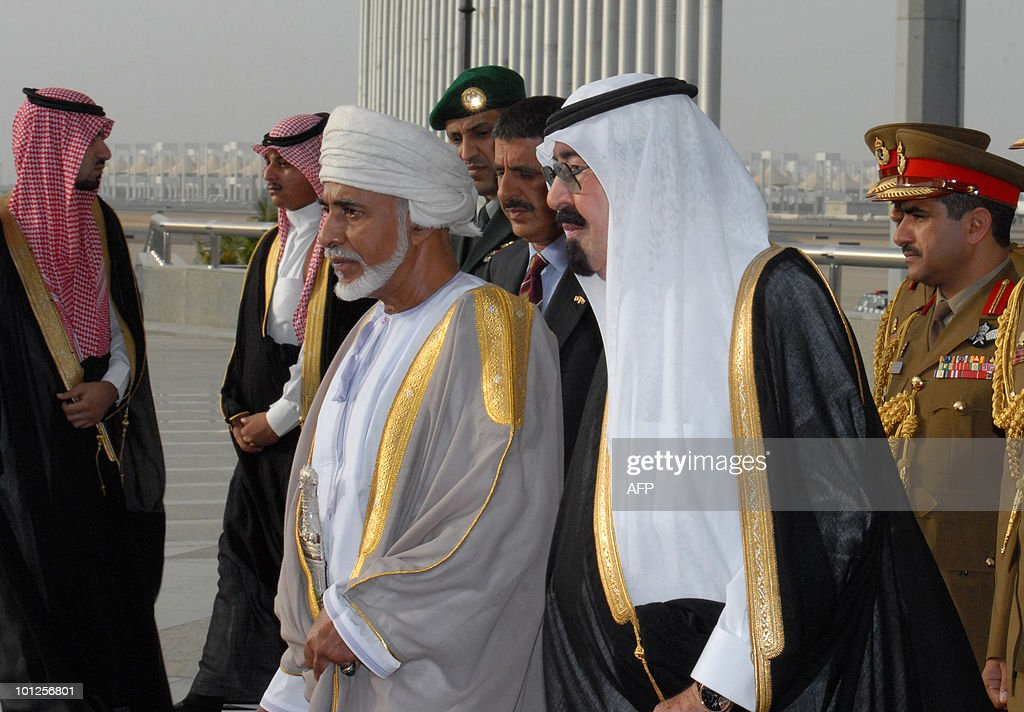 Saudi Arabia's King Abdullah bin Abdul Aziz (R) escorts Oman's Sultan Qaboos bin Said upon the latter's arrival in the Red Sea port of Jeddah at the start of the Omani leader's official visit to the desert kingdom on May 29, 2010.