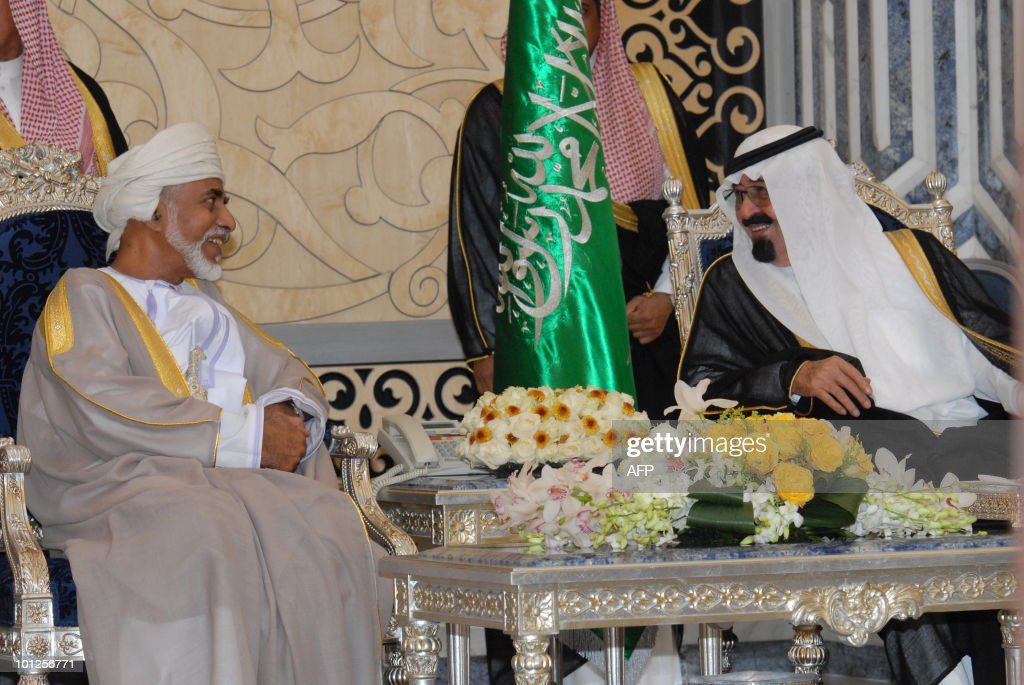 Saudi Arabia's King Abdullah bin Abdul Aziz (R) meets with Oman's Sultan Qaboos bin Said in the Red Sea port of Jeddah at the start of the Omani leader's official visit to the desert kingdom on May 29, 2010.