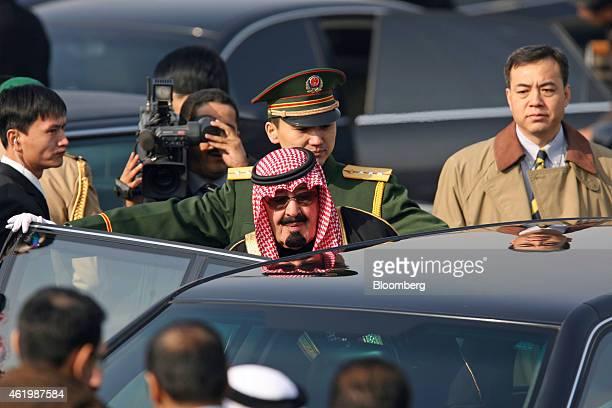 Saudi Arabia's King Abdullah bin Abdulaziz Al Saud enters a car on his arrival in Beijing China on Sunday Jan 22 2006 King Abdullah has died and will...