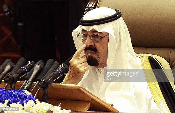 Saudi Arabia's King Abdullah bin Abdulaziz alSaud addresses the Shura Council on September 25 2011 in Riyadh announcing that he was giving women the...