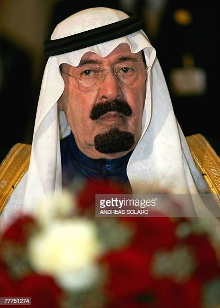 Saudi Arabia's King Abdullah looks on during a joint press conference with Italian Prime Minister Romano Prodi after their meeting in Rome 06...