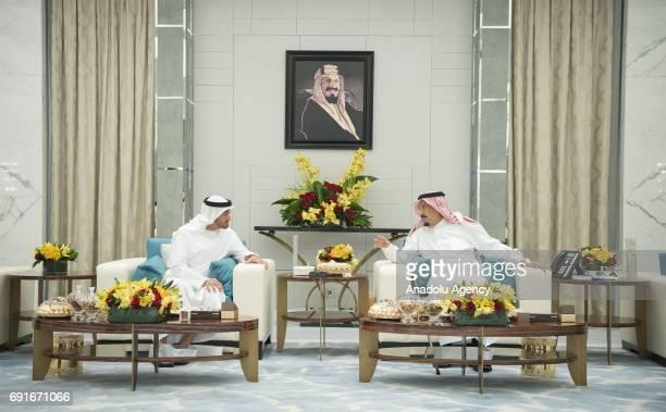 Saudi Arabia's King Salman bin Abdulaziz Al Saud attends a meeting with The Crown Prince of Abu Dhabi General Sheikh Mohammed Bin Zayed Al Nahyan in...